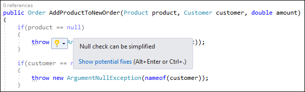 Visual Studio: simplify with throw expression
