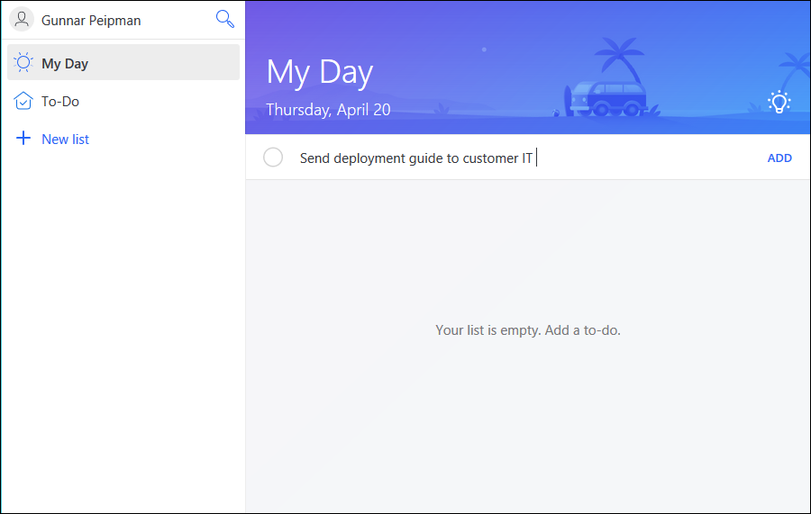 Microsoft To-Do: Adding new to-do item