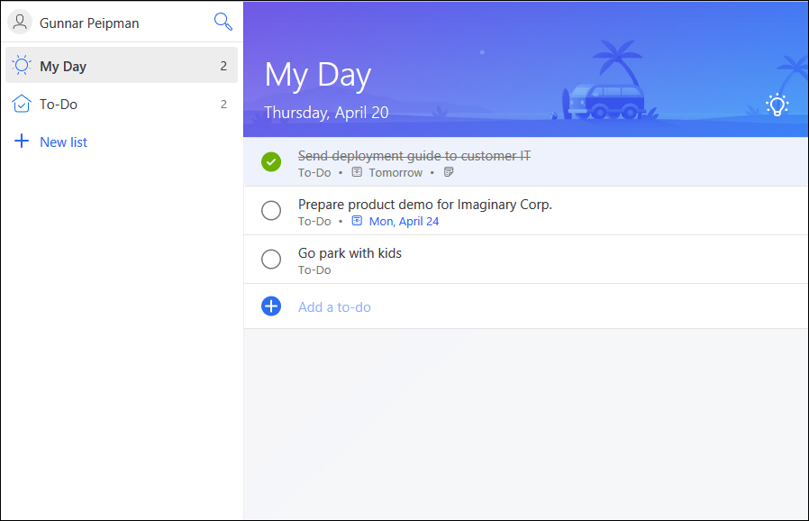 Microsoft To-Do: To-do items list