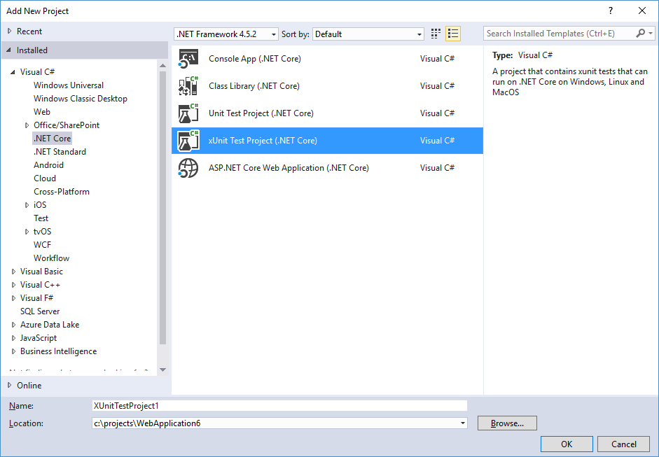 Visual Studio: Create new xUnit test project