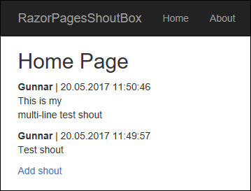 Razor Pages Shoutbox