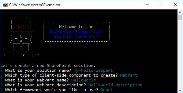 SPFx: yoman generator for client-side web part