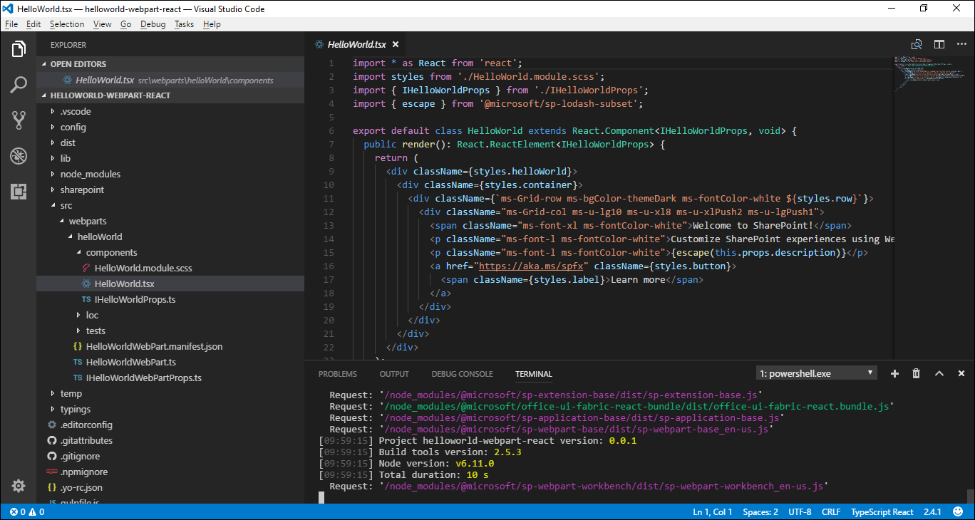 SPFx client-side web part in Visual Studio Code