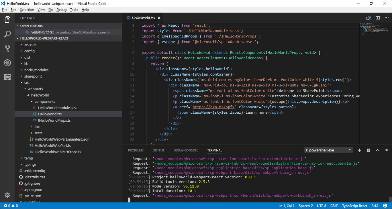 SPFx client-side web part in Visual Studio Code
