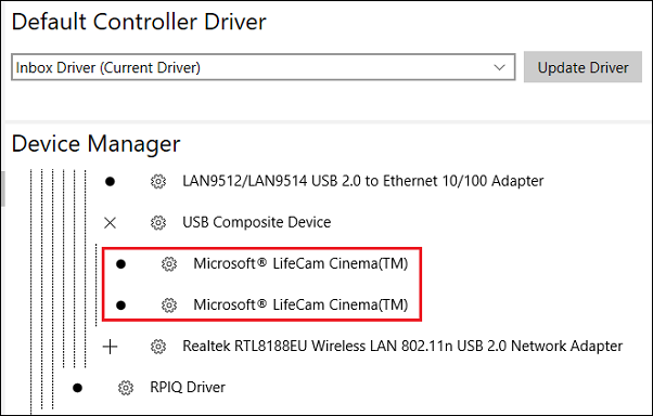 Windows 10 IoT Core. LifeCam Cinema is detected
