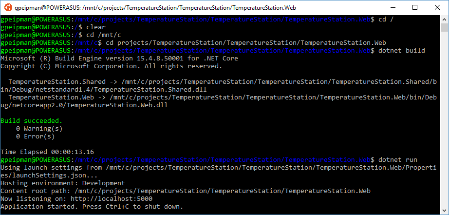 ASP.NET Core application running on Linux on Windows