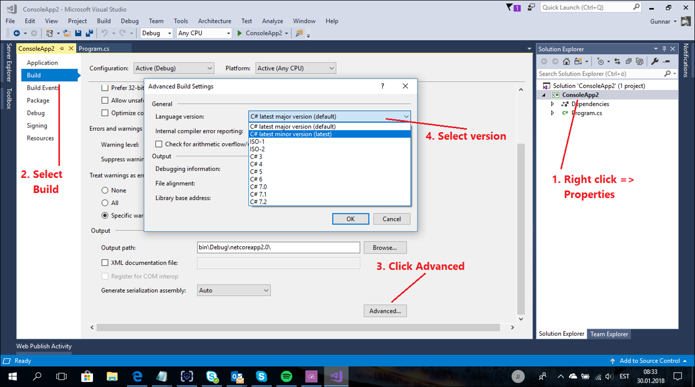 Visual Studio 2017: Switch C# version