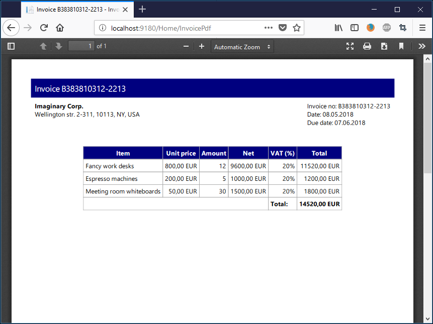 PDF invoice with ASP.NET Core