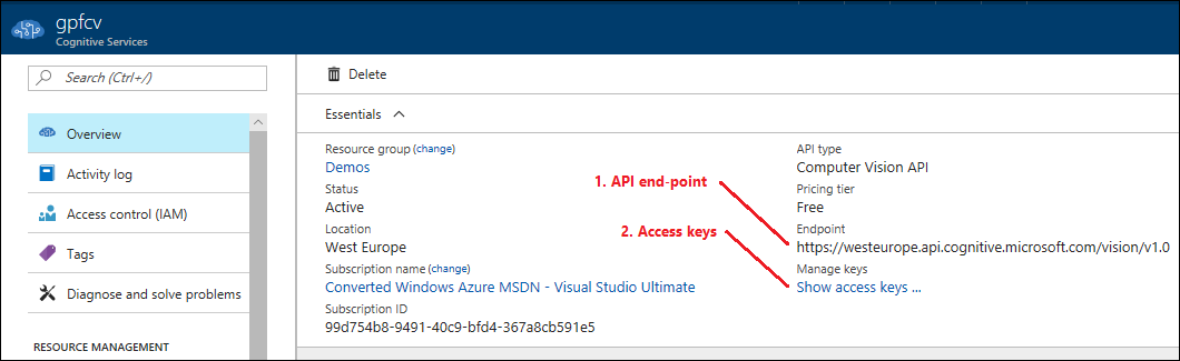 Azure Computer Vision API keys and URL