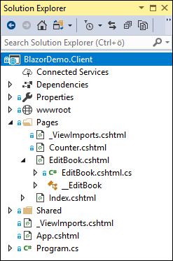 Blazor page with backing model