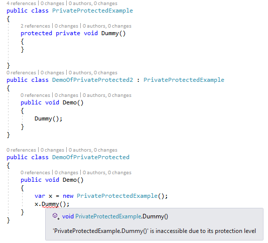 C# 7.2: protected private demo