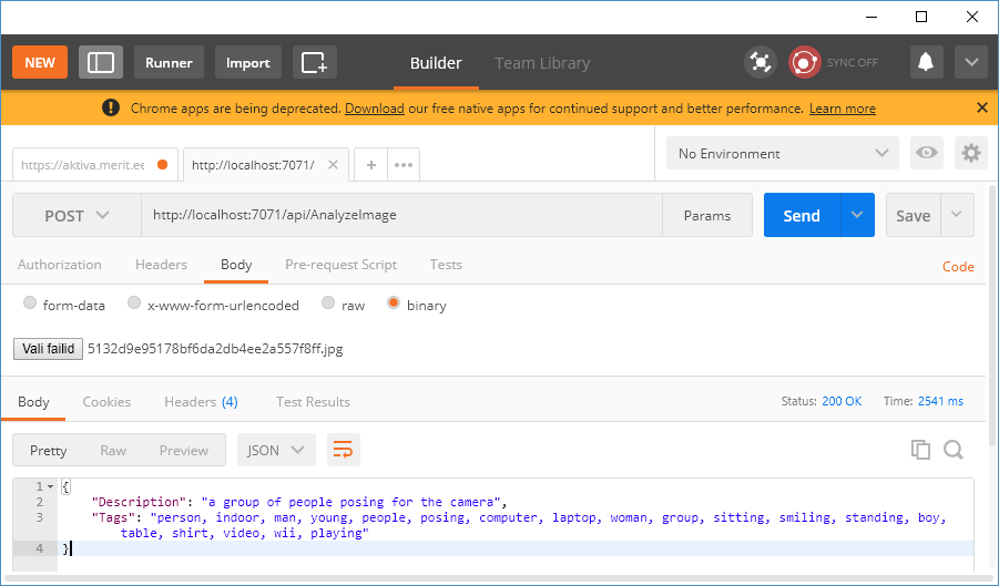 Debugging Azure Function using Postman for Google Chrome