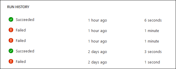 Example of flow run history