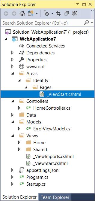 ASP.NET Core Identity folder structure