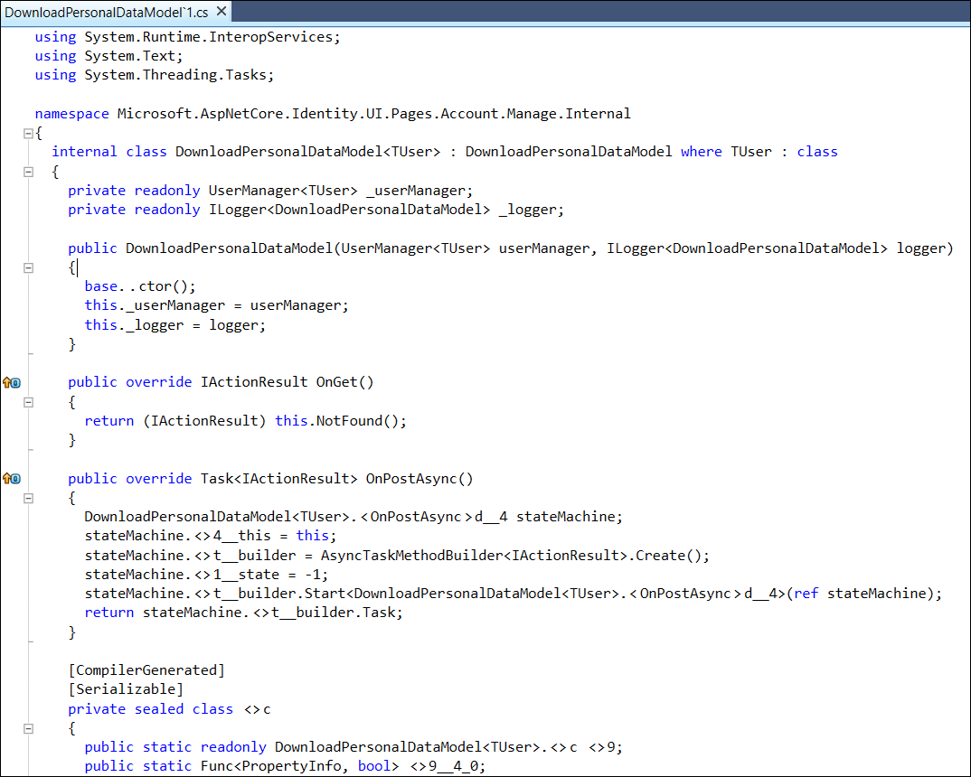 DownloadPersonalDataModel class in Microsoft.AspNetCore.Identity.UI library