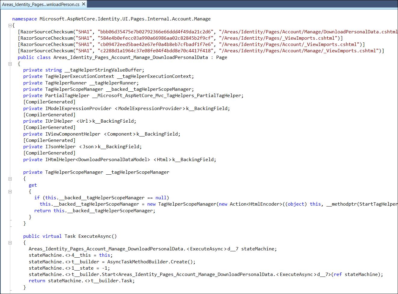DownloadPersonalData page in Razor UI library