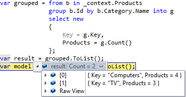 Entity Framework Core LINQ GroupBy results
