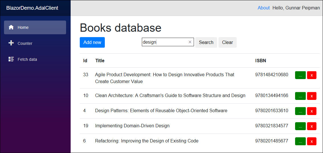 Blazor books application with search