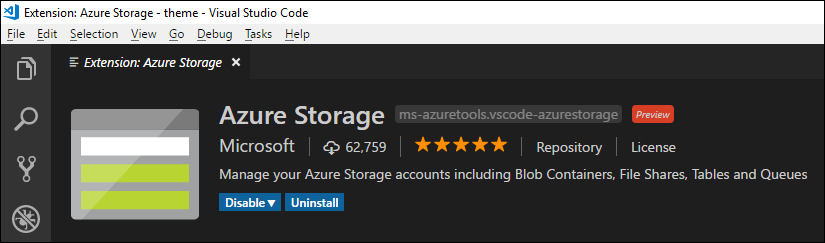 Azure Storage extensions for Visual Studio Code