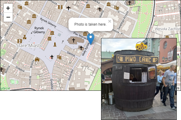 My favorite beer barrel in Krakow shown on map
