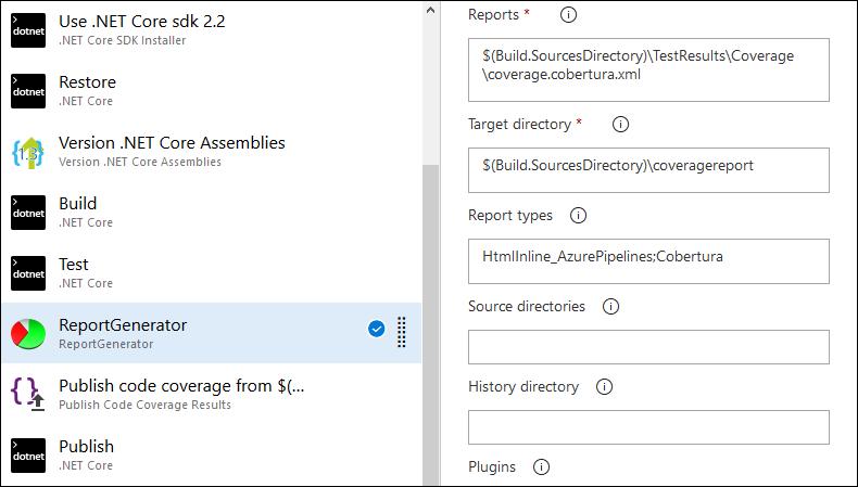 Configure ReportGenerator task