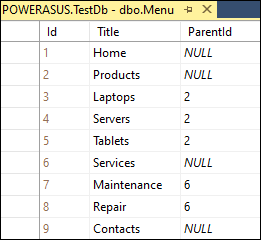 Main menu table in SQL Server database