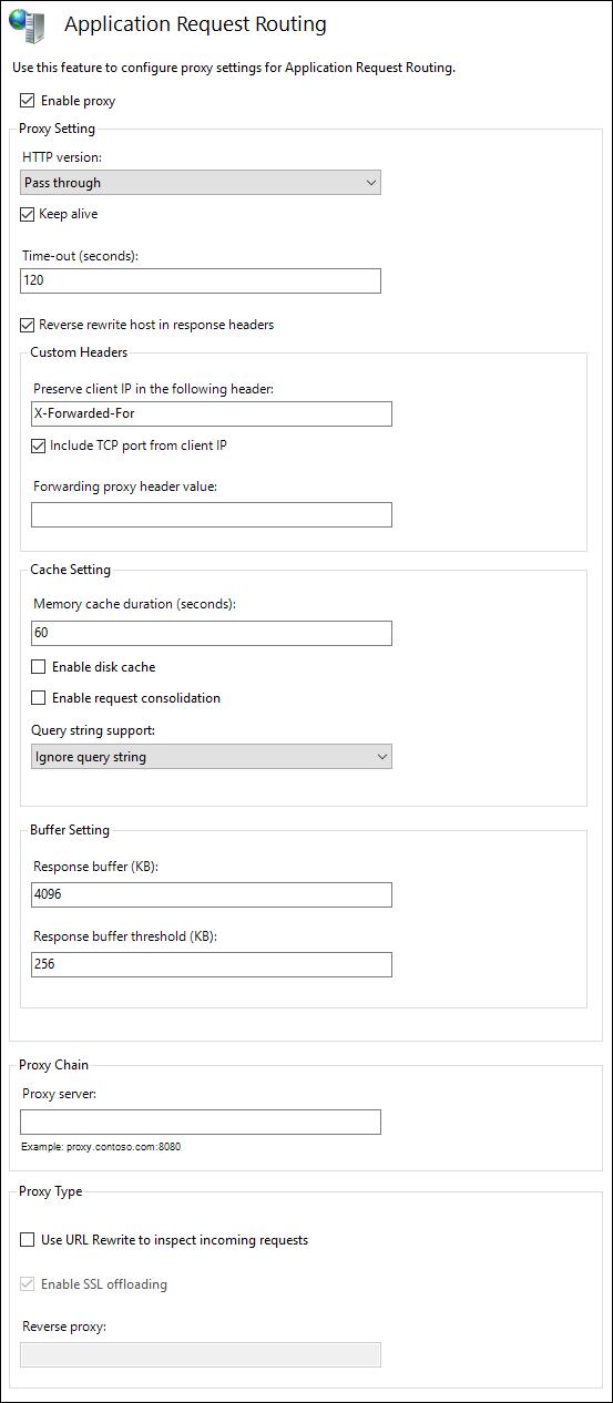 IIS ARR settings
