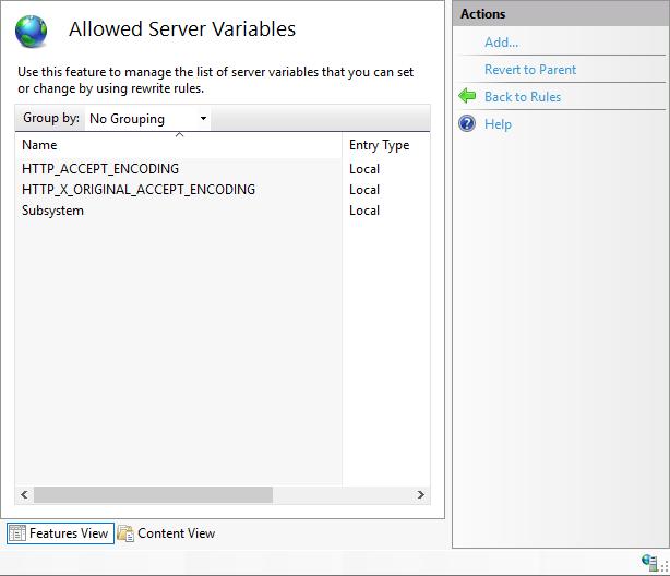 IIS URL Rewrite - Allowed Server Variables