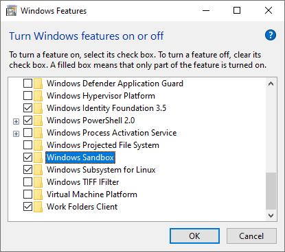 Turn on Windows Sandbox