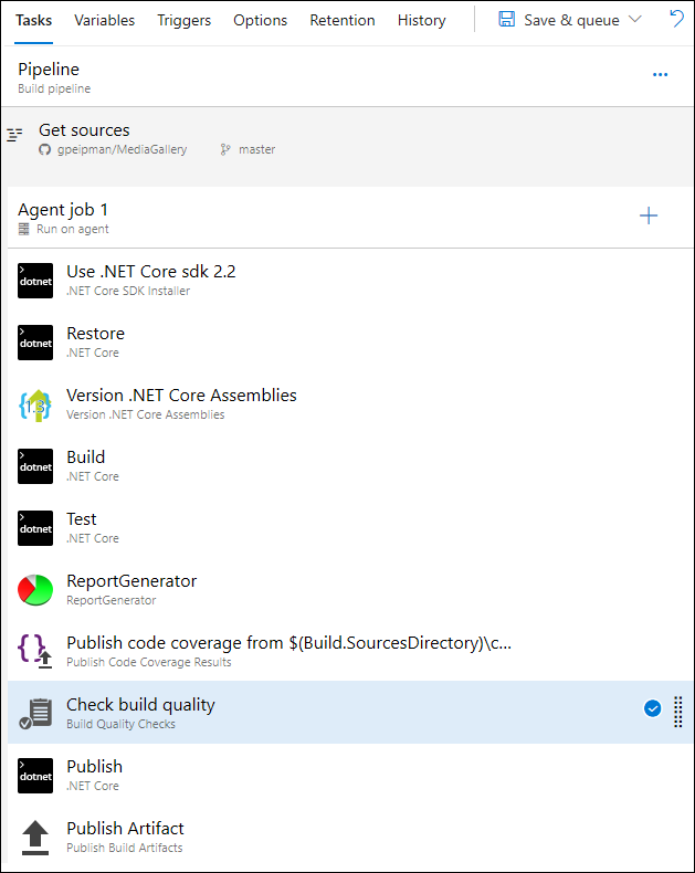 Check Build Quality task in build pipeline