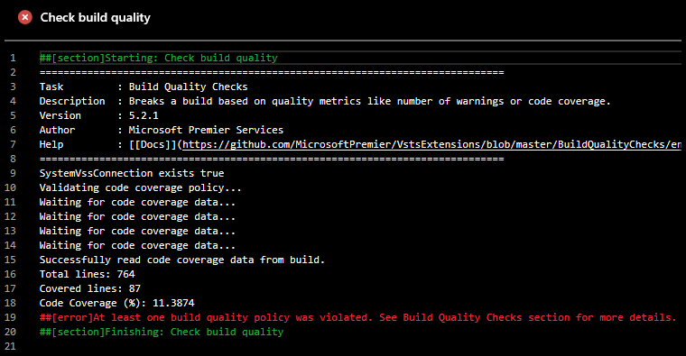 Check Build Quality task stopped build