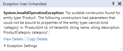 Entity Framework Core: Exception for navigational property in constructor argument list