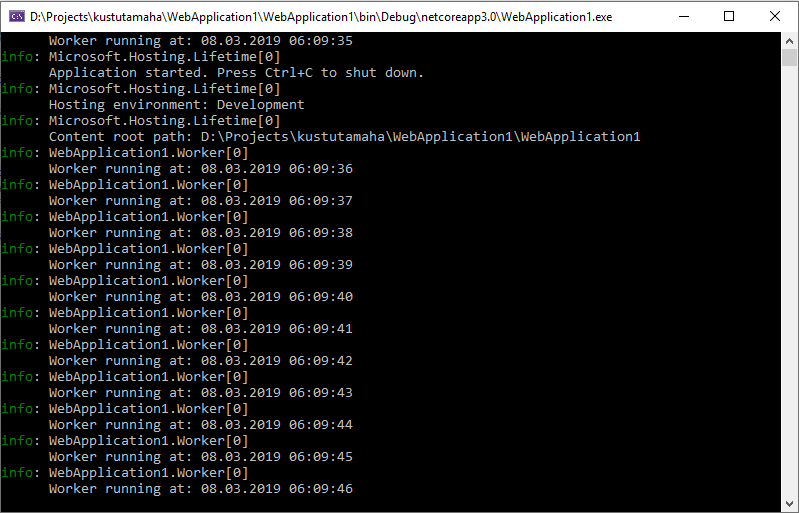 .NET Core worker service output