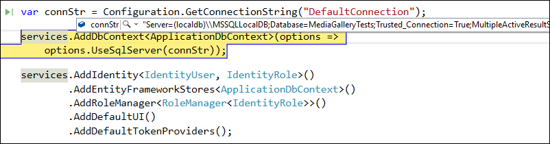 Connection string from integration tests appsettings.json