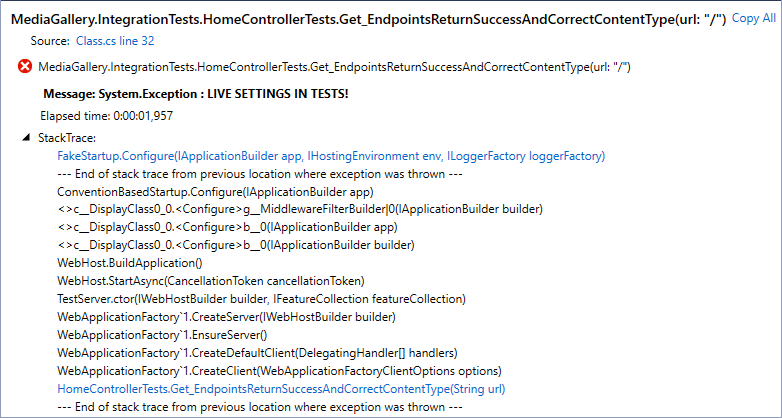 Integration test failed because of live settings