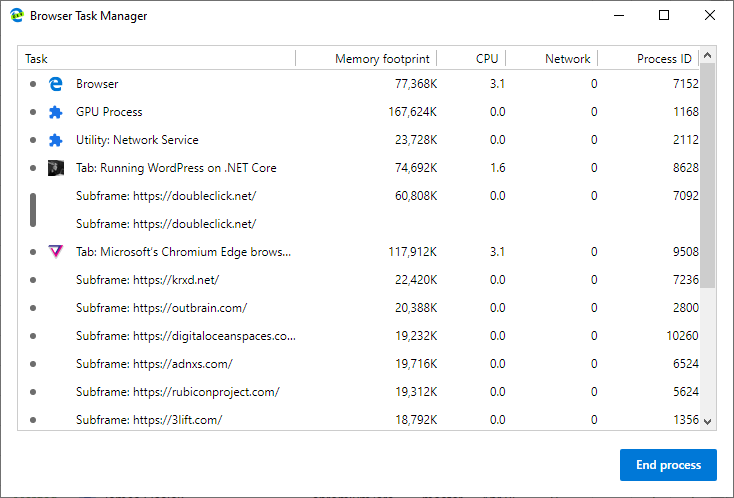 Edge Insider: Browser task manager