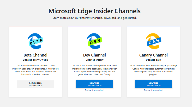 Edge Insider channels