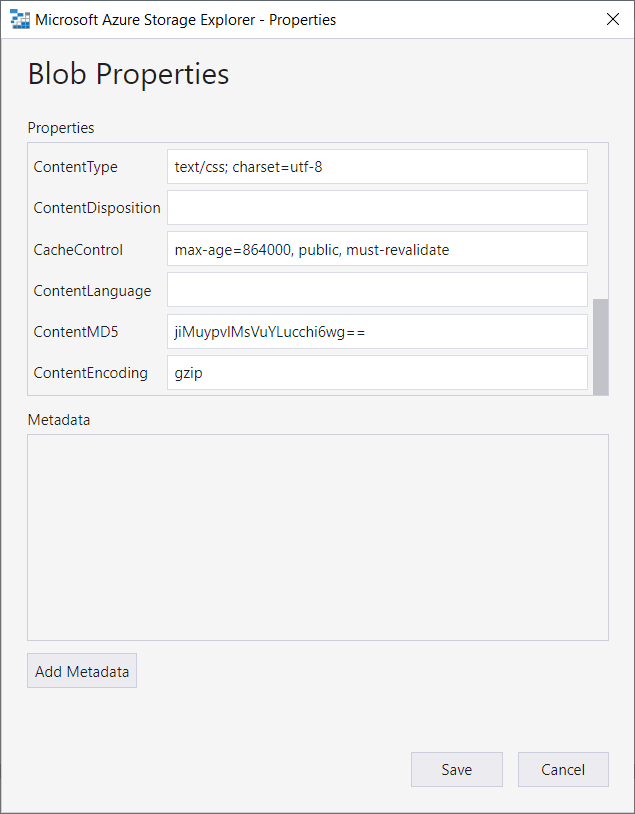 Azure Storage Explorer: changing file properties