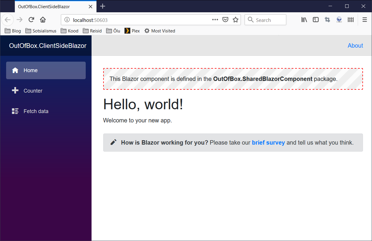 Shared Blazor component in action