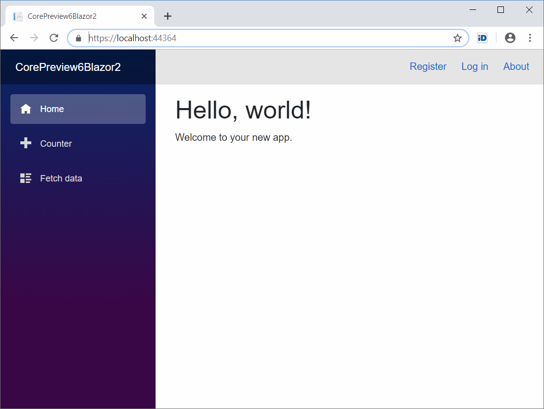 Default page of server-side Blazor application