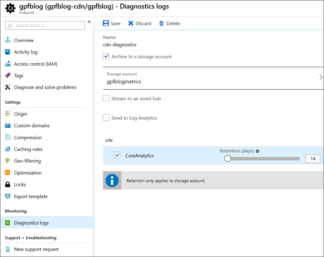 Azure CDN: Enabling diagnostics logs