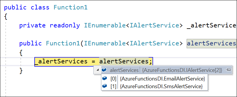 All instances of service injected to Azure function