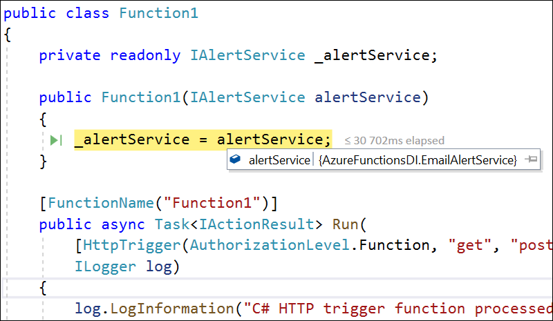 Service injected to Azure function