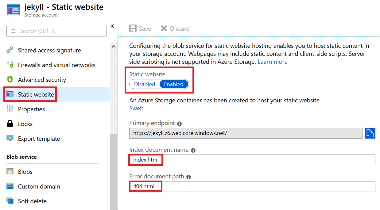 Enabling Azure static website