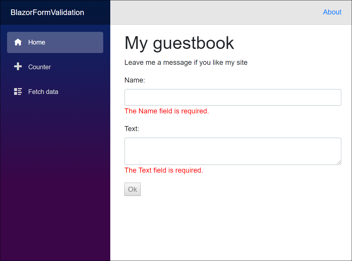 Blazor guestbook: button is disabled if form is invalid