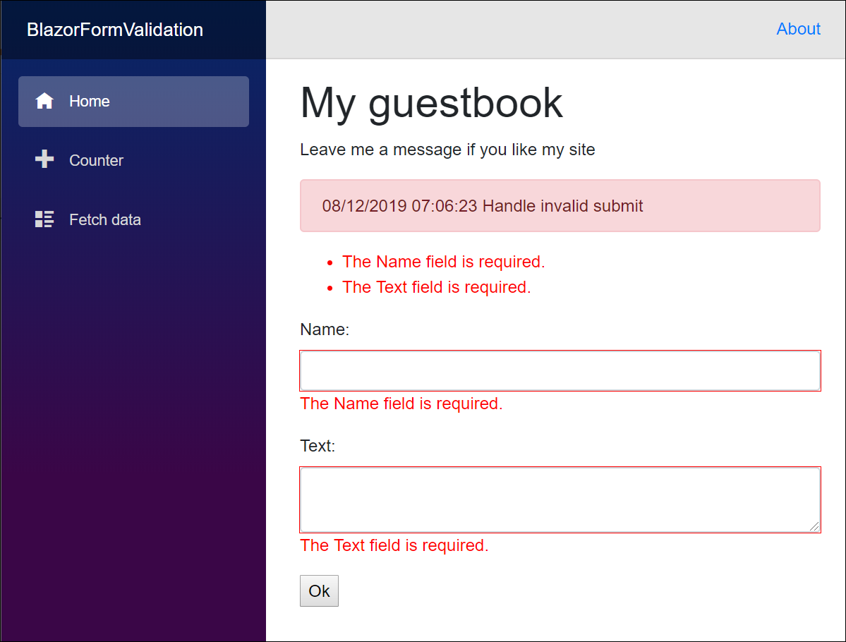 Blazor guestbook form is invalid