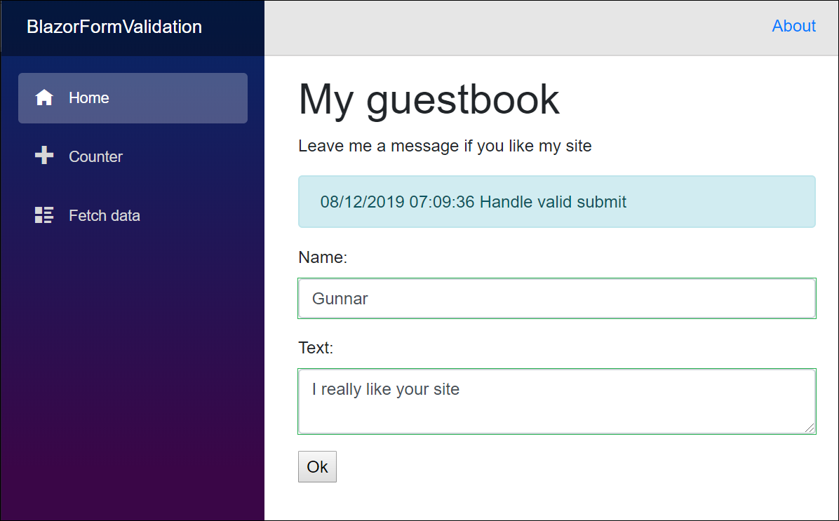 Blazor guestbook form is valid