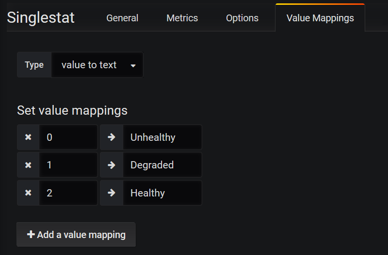 Configuring singlestat value mappings for health checks