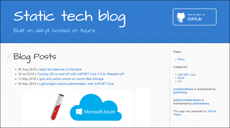 Jekyll static blog on Azure