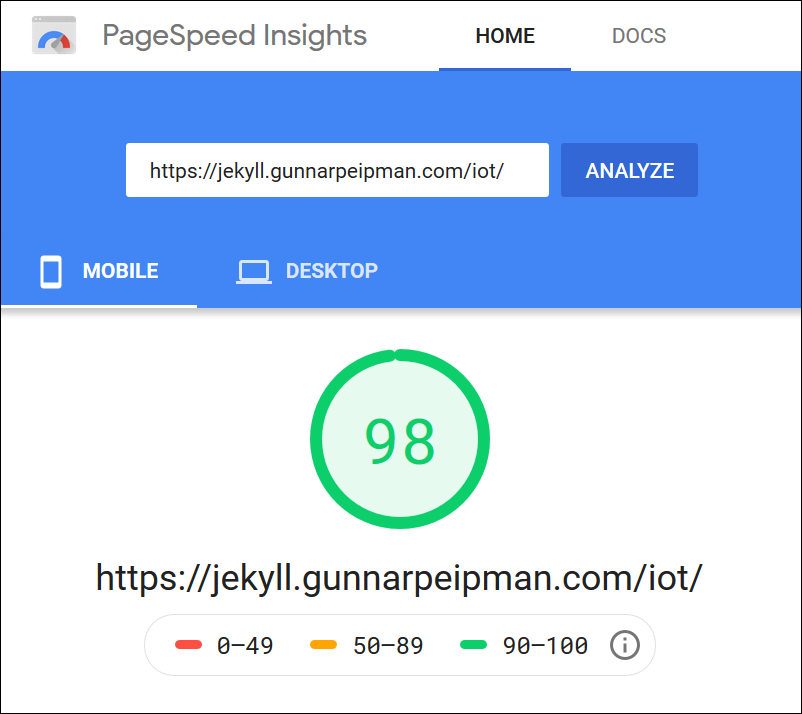 Jekyll blog: PageSpeed Insights analyzis